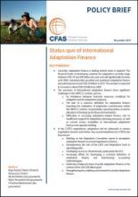 Cover CFAS Policy Brief Stauts Quo of Adaptation Finance